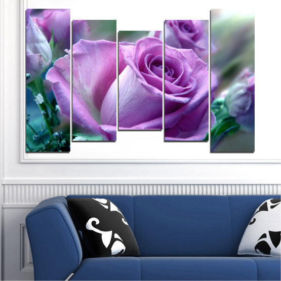 Canvas prints & wall decorative panels - 5 pieces №0392 » Purple, Gray, Dark grey » Flowers, Rose, Bouquet Form #4