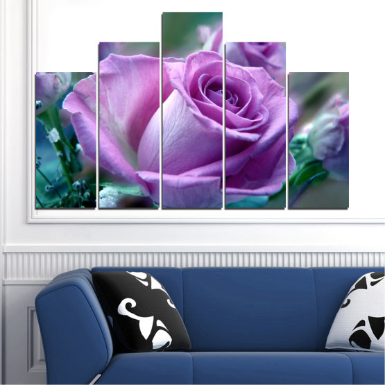 Canvas prints & wall decorative panels - 5 pieces №0392 » Purple, Gray, Dark grey » Flowers, Rose, Bouquet Form #5