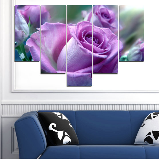 Canvas prints & wall decorative panels - 5 pieces №0392 » Purple, Gray, Dark grey » Flowers, Rose, Bouquet Form #6