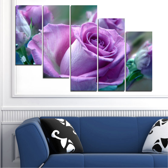 Canvas prints & wall decorative panels - 5 pieces №0392 » Purple, Gray, Dark grey » Flowers, Rose, Bouquet Form #7