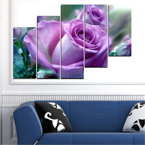 Canvas prints & wall decorative panels - 5 pieces №0392 » Purple, Gray, Dark grey » Flowers, Rose, Bouquet Form #8