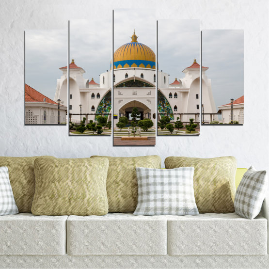 Canvas prints & wall decorative panels - 5 pieces №0393 » Brown, Gray, White, Dark grey » View, Mosque, Religion, Malaysia Form #1