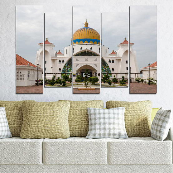 Canvas prints & wall decorative panels - 5 pieces №0393 » Brown, Gray, White, Dark grey » View, Mosque, Religion, Malaysia Form #3