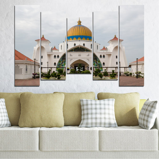Canvas prints & wall decorative panels - 5 pieces №0393 » Brown, Gray, White, Dark grey » View, Mosque, Religion, Malaysia Form #4