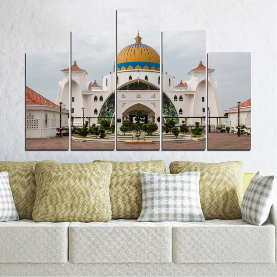Canvas prints & wall decorative panels - 5 pieces №0393 » Brown, Gray, White, Dark grey » View, Mosque, Religion, Malaysia Form #5