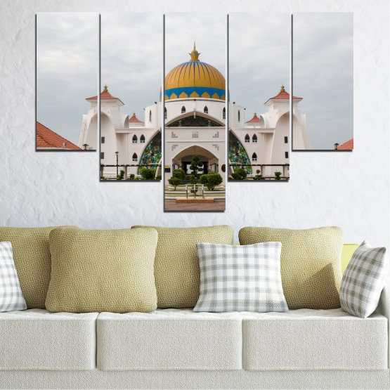Canvas prints & wall decorative panels - 5 pieces №0393 » Brown, Gray, White, Dark grey » View, Mosque, Religion, Malaysia Form #6
