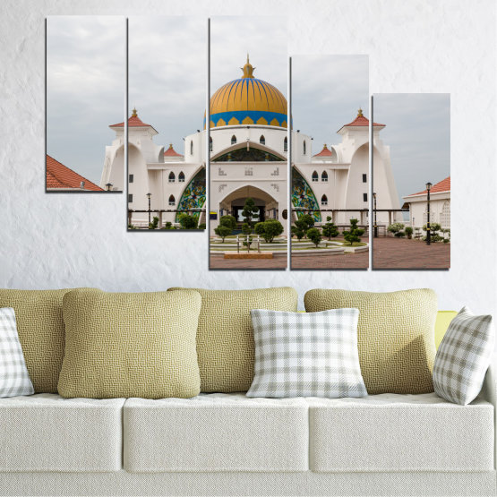 Canvas prints & wall decorative panels - 5 pieces №0393 » Brown, Gray, White, Dark grey » View, Mosque, Religion, Malaysia Form #7