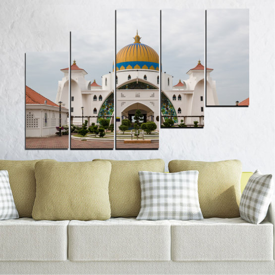 Canvas prints & wall decorative panels - 5 pieces №0393 » Brown, Gray, White, Dark grey » View, Mosque, Religion, Malaysia Form #8