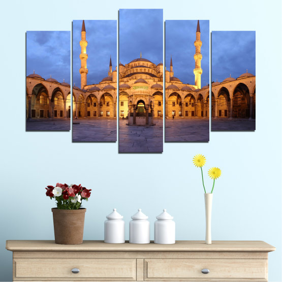 Canvas prints & wall decorative panels - 5 pieces №0394 » Turquoise, Orange, Brown, Gray, Dark grey » Turkey, Sultan ahmed, Blue mosque, Mosque, Religion Form #1