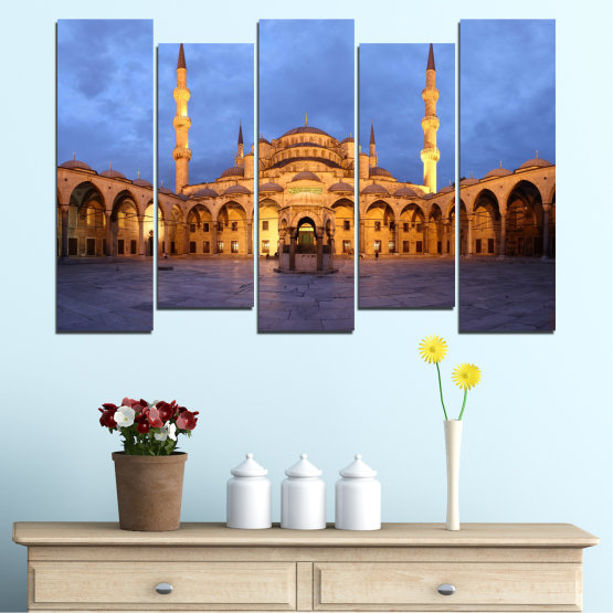 Canvas prints & wall decorative panels - 5 pieces №0394 » Turquoise, Orange, Brown, Gray, Dark grey » Turkey, Sultan ahmed, Blue mosque, Mosque, Religion Form #3