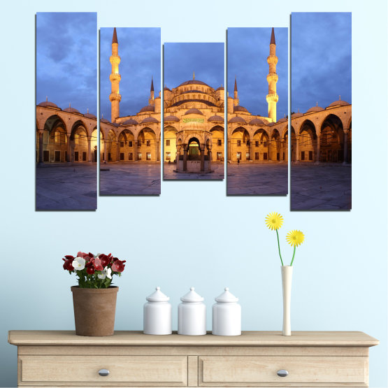 Canvas prints & wall decorative panels - 5 pieces №0394 » Turquoise, Orange, Brown, Gray, Dark grey » Turkey, Sultan ahmed, Blue mosque, Mosque, Religion Form #4