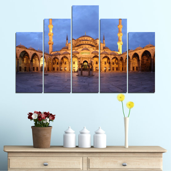 Canvas prints & wall decorative panels - 5 pieces №0394 » Turquoise, Orange, Brown, Gray, Dark grey » Turkey, Sultan ahmed, Blue mosque, Mosque, Religion Form #5
