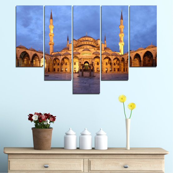 Canvas prints & wall decorative panels - 5 pieces №0394 » Turquoise, Orange, Brown, Gray, Dark grey » Turkey, Sultan ahmed, Blue mosque, Mosque, Religion Form #6