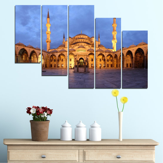 Canvas prints & wall decorative panels - 5 pieces №0394 » Turquoise, Orange, Brown, Gray, Dark grey » Turkey, Sultan ahmed, Blue mosque, Mosque, Religion Form #7