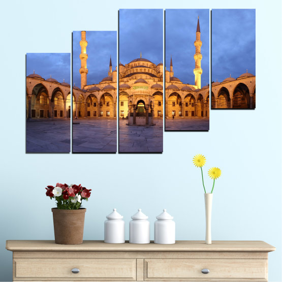 Canvas prints & wall decorative panels - 5 pieces №0394 » Turquoise, Orange, Brown, Gray, Dark grey » Turkey, Sultan ahmed, Blue mosque, Mosque, Religion Form #8