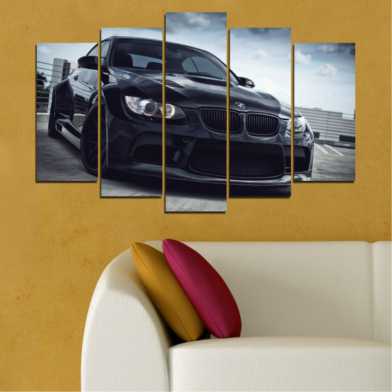 Canvas prints & wall decorative panels - 5 pieces №0395 » Black, Gray, Dark grey » Bmw, Car, Automobile, Sport Form #1