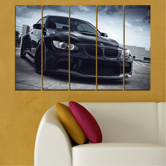 Canvas prints & wall decorative panels - 5 pieces №0395 » Black, Gray, Dark grey » Bmw, Car, Automobile, Sport Form #2
