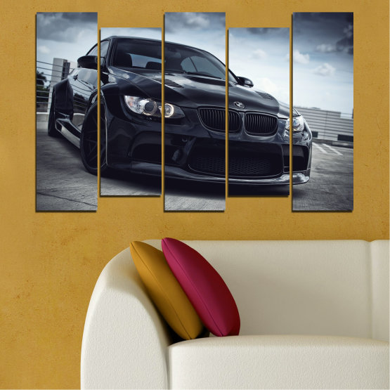Canvas prints & wall decorative panels - 5 pieces №0395 » Black, Gray, Dark grey » Bmw, Car, Automobile, Sport Form #3
