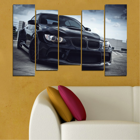 Canvas prints & wall decorative panels - 5 pieces №0395 » Black, Gray, Dark grey » Bmw, Car, Automobile, Sport Form #4