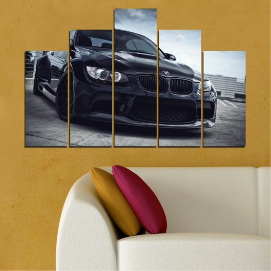 Canvas prints & wall decorative panels - 5 pieces №0395 » Black, Gray, Dark grey » Bmw, Car, Automobile, Sport Form #5