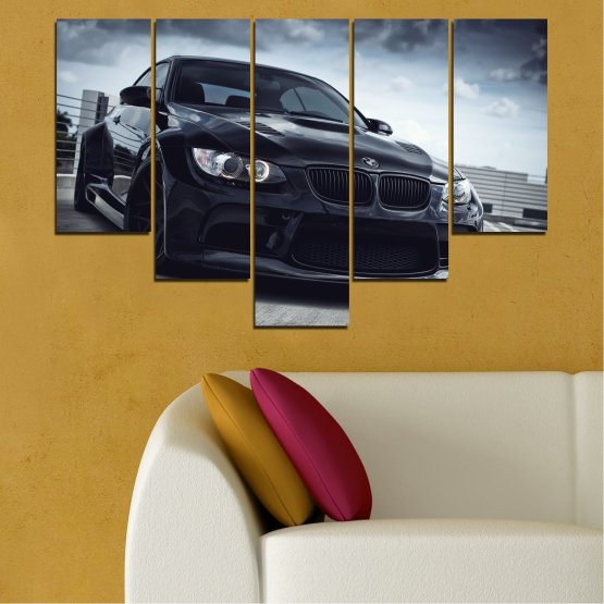 Canvas prints & wall decorative panels - 5 pieces №0395 » Black, Gray, Dark grey » Bmw, Car, Automobile, Sport Form #6