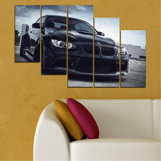 Canvas prints & wall decorative panels - 5 pieces №0395 » Black, Gray, Dark grey » Bmw, Car, Automobile, Sport Form #7
