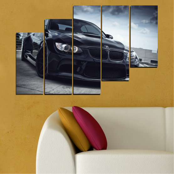 Canvas prints & wall decorative panels - 5 pieces №0395 » Black, Gray, Dark grey » Bmw, Car, Automobile, Sport Form #8