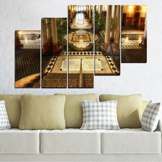 Canvas prints & wall decorative panels - 5 pieces №0396 » Brown, Black, Gray, Beige » View, Room, Hotel Form #8