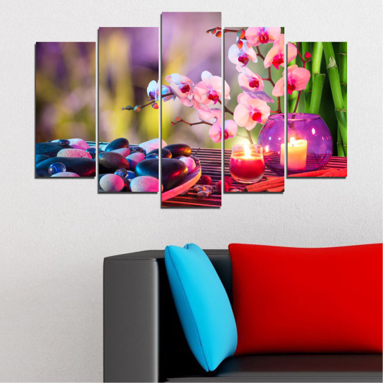 Canvas prints & wall decorative panels - 5 pieces №0397 » Brown, Black, Gray, Milky pink, Dark grey » Feng shui, Orchid, Stones, Zen, Spa, Candle Form #1