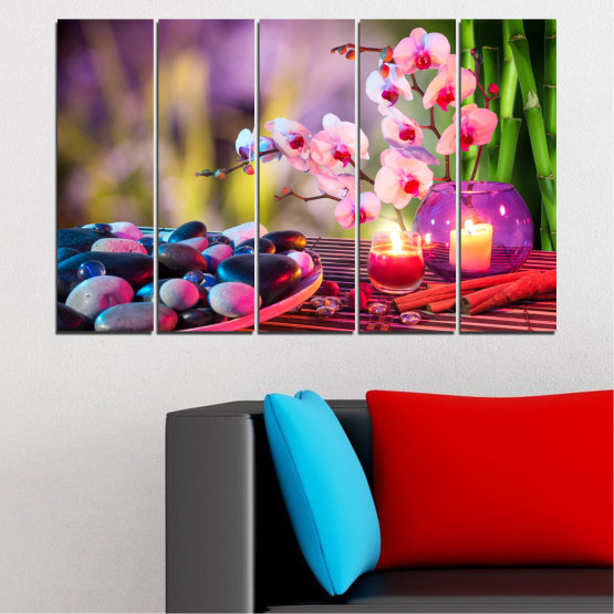 Canvas prints & wall decorative panels - 5 pieces №0397 » Brown, Black, Gray, Milky pink, Dark grey » Feng shui, Orchid, Zen, Stones, Spa, Candle Form #2