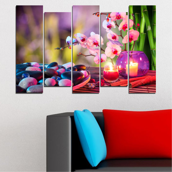 Canvas prints & wall decorative panels - 5 pieces №0397 » Brown, Black, Gray, Milky pink, Dark grey » Orchid, Feng shui, Stones, Zen, Spa, Candle Form #3