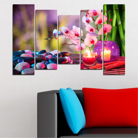 Canvas prints & wall decorative panels - 5 pieces №0397 » Brown, Black, Gray, Milky pink, Dark grey » Orchid, Feng shui, Stones, Zen, Spa, Candle Form #4