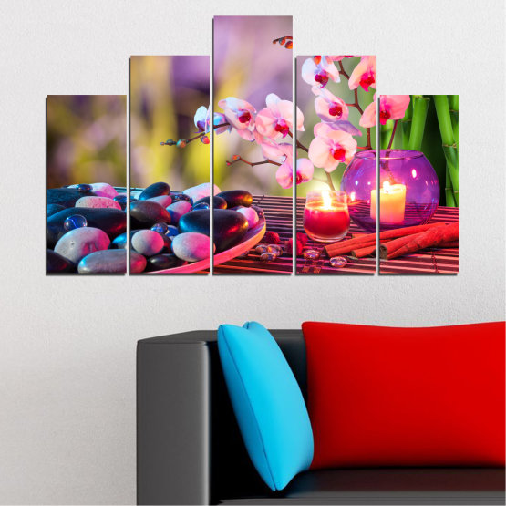 Canvas prints & wall decorative panels - 5 pieces №0397 » Brown, Black, Gray, Milky pink, Dark grey » Orchid, Feng shui, Stones, Zen, Spa, Candle Form #5