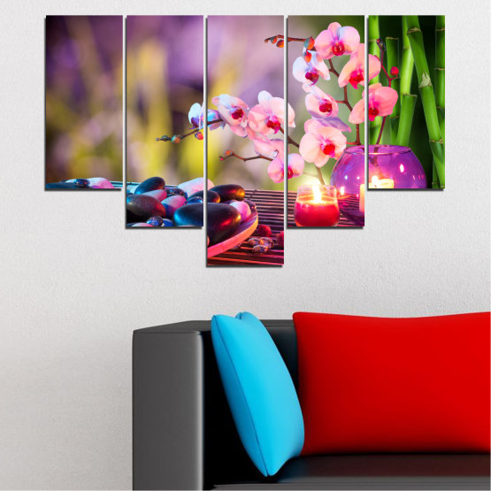 Canvas prints & wall decorative panels - 5 pieces №0397 » Brown, Black, Gray, Milky pink, Dark grey » Orchid, Feng shui, Stones, Zen, Spa, Candle Form #6