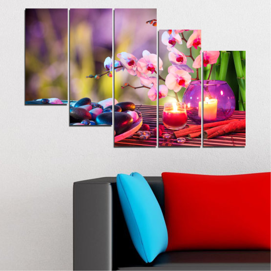 Canvas prints & wall decorative panels - 5 pieces №0397 » Brown, Black, Gray, Milky pink, Dark grey » Feng shui, Orchid, Zen, Stones, Spa, Candle Form #7