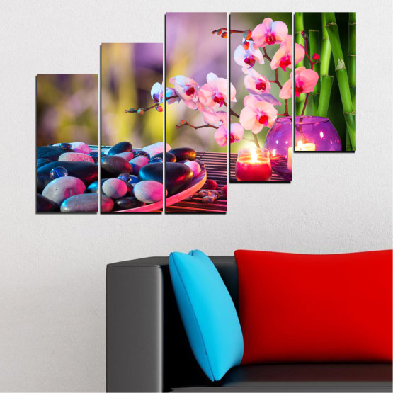 Canvas prints & wall decorative panels - 5 pieces №0397 » Brown, Black, Gray, Milky pink, Dark grey » Feng shui, Orchid, Stones, Spa, Zen, Candle Form #8