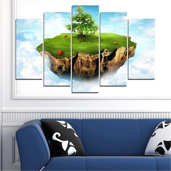 Декоративни панели и картини от канава - от 5 части №0399 » Син, Тюркоаз, Сив, Бял » Колаж, Небе, Остров Form #1