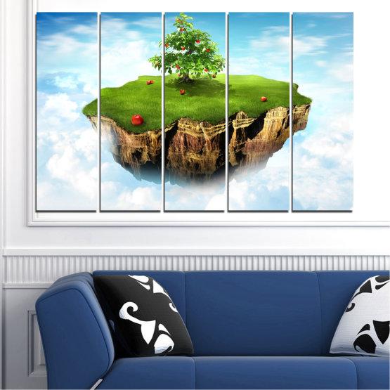 Декоративни панели и картини от канава - от 5 части №0399 » Син, Тюркоаз, Сив, Бял » Колаж, Небе, Остров Form #2
