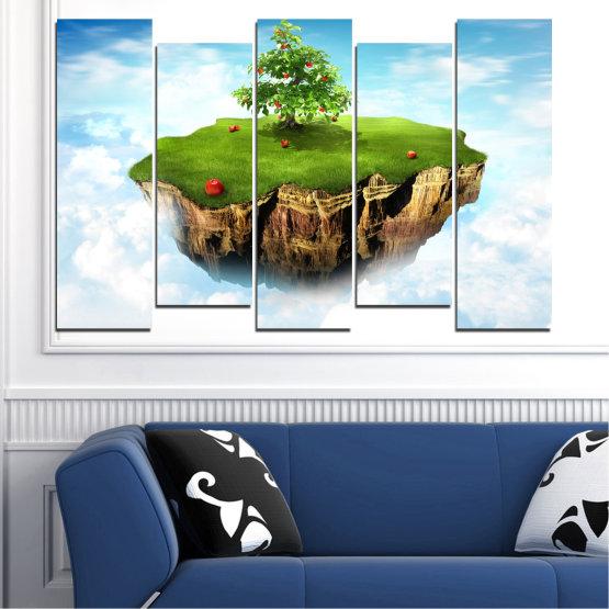 Декоративни панели и картини от канава - от 5 части №0399 » Син, Тюркоаз, Сив, Бял » Колаж, Небе, Остров Form #3
