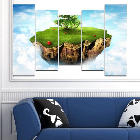 Декоративни панели и картини от канава - от 5 части №0399 » Син, Тюркоаз, Сив, Бял » Колаж, Небе, Остров Form #4