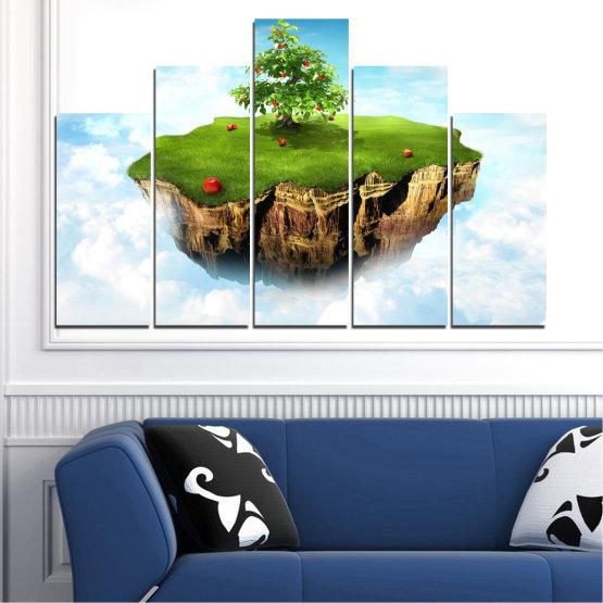 Декоративни панели и картини от канава - от 5 части №0399 » Син, Тюркоаз, Сив, Бял » Колаж, Небе, Остров Form #5