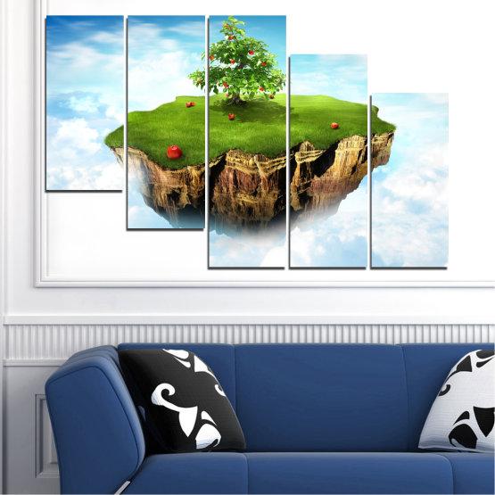 Декоративни панели и картини от канава - от 5 части №0399 » Син, Тюркоаз, Сив, Бял » Колаж, Небе, Остров Form #7