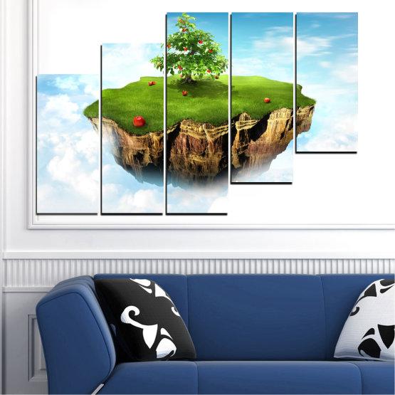 Декоративни панели и картини от канава - от 5 части №0399 » Син, Тюркоаз, Сив, Бял » Колаж, Небе, Остров Form #8