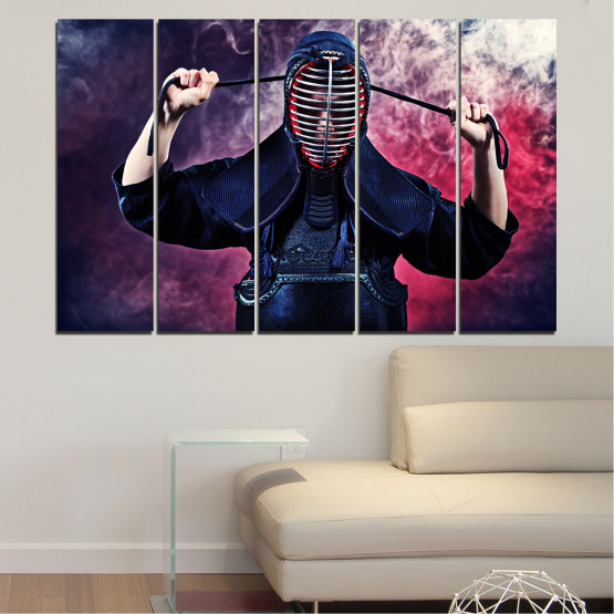 Canvas prints & wall decorative panels - 5 pieces №0004 » Black, Gray, Dark grey » Portrait, Sport, Kendo Form #2