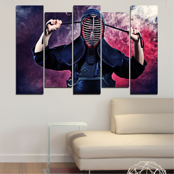 Canvas prints & wall decorative panels - 5 pieces №0004 » Black, Gray, Dark grey » Portrait, Sport, Kendo Form #3