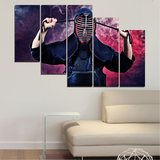 Canvas prints & wall decorative panels - 5 pieces №0004 » Black, Gray, Dark grey » Portrait, Sport, Kendo Form #7