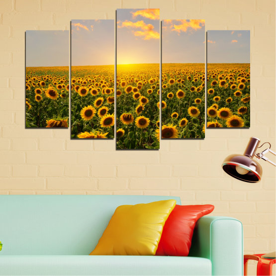 Canvas prints & wall decorative panels - 5 pieces №0040 » Green, Brown, Black, Gray, Beige » Flowers, Nature, Sun, Sky, Sunflower, Field Form #1