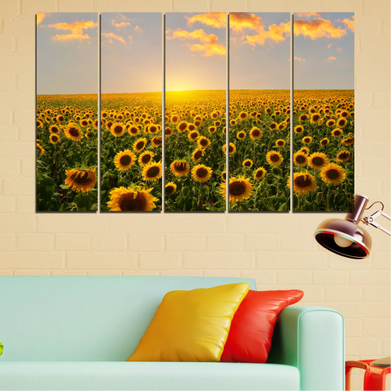 Canvas prints & wall decorative panels - 5 pieces №0040 » Green, Brown, Black, Gray, Beige » Flowers, Nature, Sun, Sky, Sunflower, Field Form #2