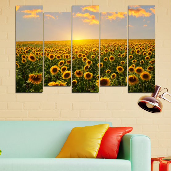 Canvas prints & wall decorative panels - 5 pieces №0040 » Green, Brown, Black, Gray, Beige » Flowers, Nature, Sun, Sky, Sunflower, Field Form #3