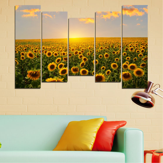 Canvas prints & wall decorative panels - 5 pieces №0040 » Green, Brown, Black, Gray, Beige » Flowers, Nature, Sun, Sky, Sunflower, Field Form #4